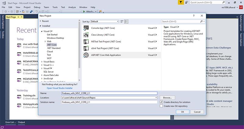 Firebase with MVC Core 2 1